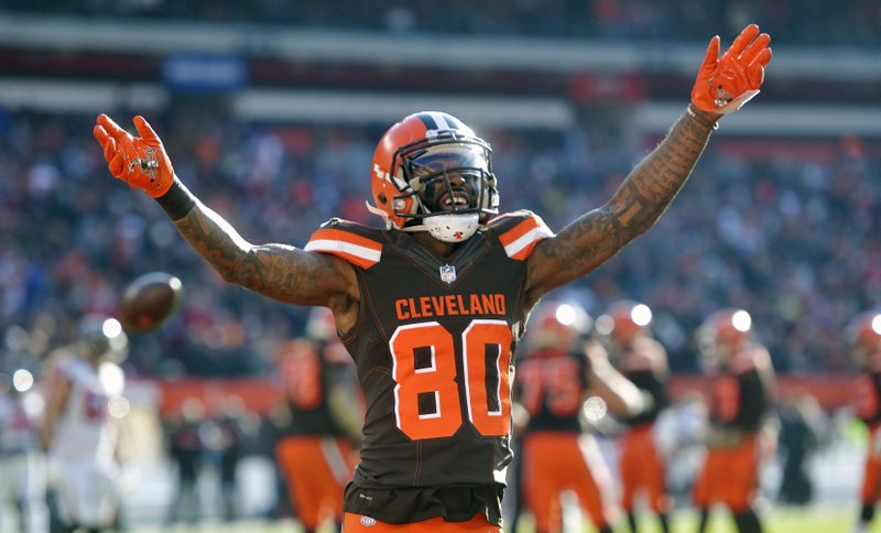 FILE - In this Nov. 11, 2018, file photo, Cleveland Browns wide receiver Jarvis Landry reacts in the second half of an NFL football game against the Atlanta Falcons, in Cleveland. (AP Photo/David Richard, File)
