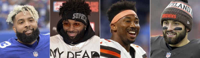FILE - These are 2018 file photos showing, from left, New York Giants wide receiver Odell Beckham, Cleveland Browns wide receiver Jarvis Landry, Browns defensive end Myles Garrett and Browns quarterback Baker Mayfield. (AP Photo/File)