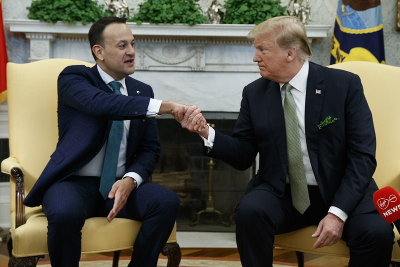 President Donald Trump meets with Irish Prime Minister Leo Varadkar in the Oval Office of the White House, Thursday, March 14, 2019, in Washington. (AP Photo/ Evan Vucci)