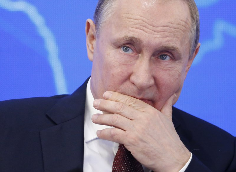 Russian President Vladimir Putin attends a meeting of the Russian Union of Industrialists and Entrepreneurs in Moscow, Russia, Thursday, March 14, 2019. (AP Photo/Alexander Zemlianichenko)