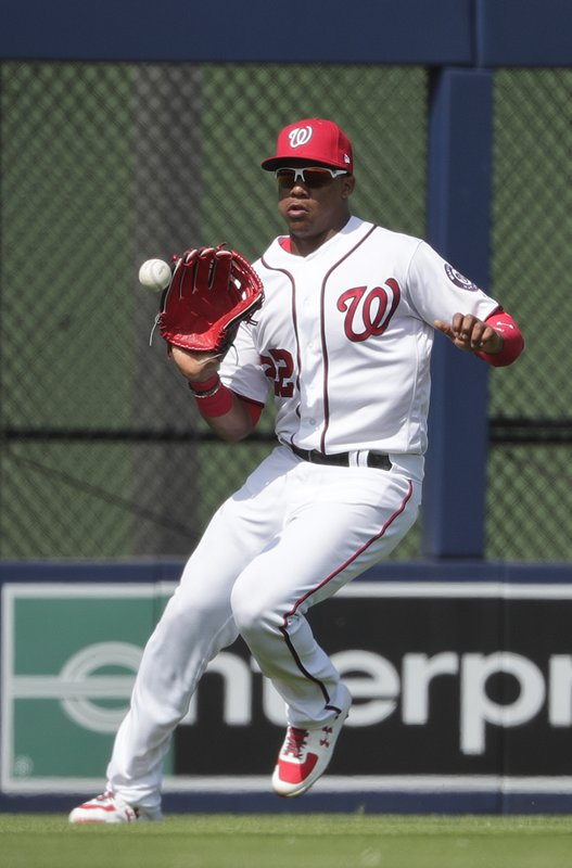 FILE - In this March 5, 2019, file photo, Washington Nationals outfielder Juan Soto (22) fields the ball in the fourth inning of an exhibition spring training baseball game against the Boston Red Sox in West Palm Beach, Fla. (AP Photo/Brynn Anderson, File)