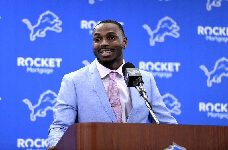Detroit Lions cornerback Justin Coleman speaks  during a press conference at the NFL football team's training facility in Allen Park, Mich. (David Guralnick/Detroit News via AP)