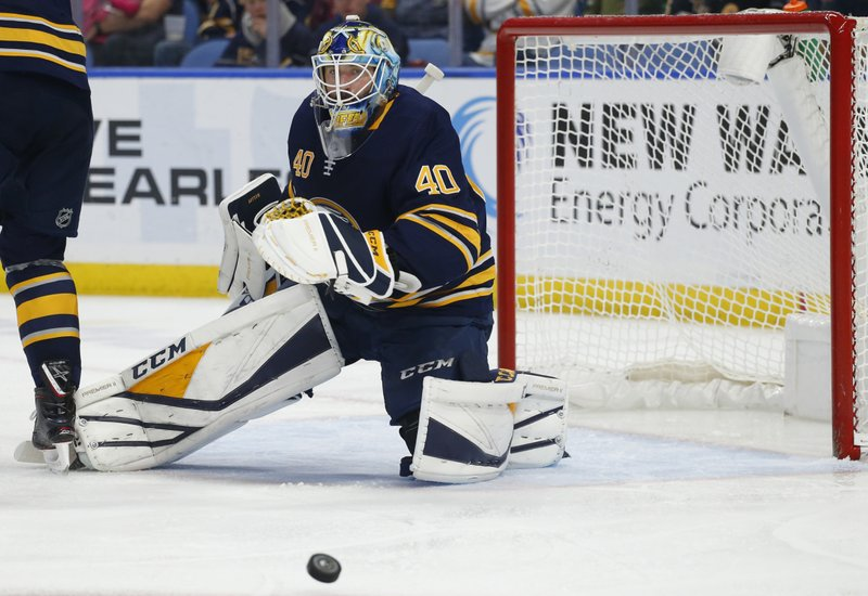 Buffalo Sabres forward Carter Hutton (40) makes a save during the second period of the team's NHL hockey game against the Pittsburgh Penguins, Thursday, March 14, 2019, in Buffalo, N. (AP Photo/Jeffrey T. Barnes)