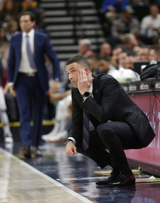 Minnesota Timberwolves head coach Ryan Saunders looks on in the first half during an NBA basketball game against the Utah Jazz, Thursday, March 14, 2019, in Salt Lake City. (AP Photo/Rick Bowmer)