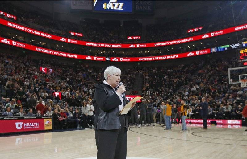 Gail Miller, owner and chairwoman of the Utah Jazz, addresses the crowd before an NBA basketball game against the Minnesota Timberwolves, Thursday, March 14, 2019, in Salt Lake City. (AP Photo/Rick Bowmer)