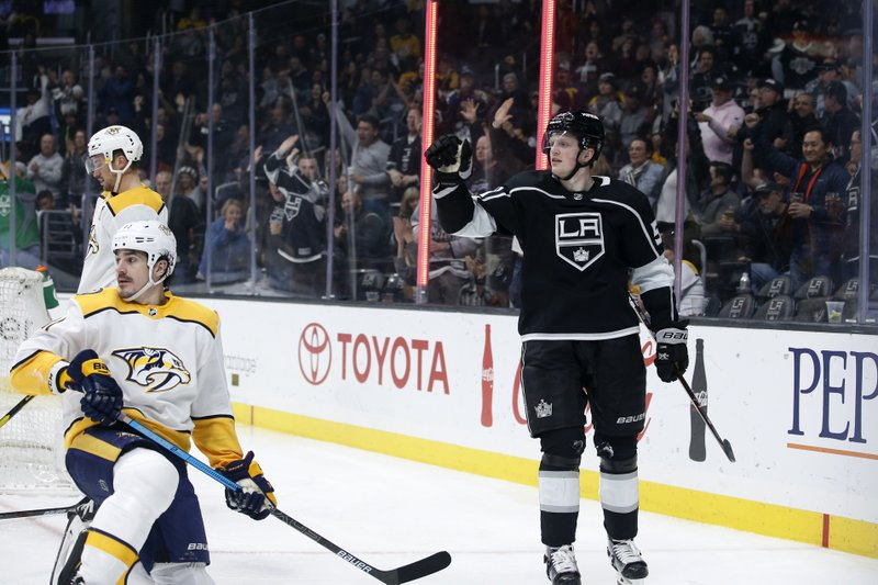 Los Angeles Kings forward Austin Wagner (51) celebrates his goal against the Nashville Predators during the second period of an NHL hockey game Thursday, March 14, 2019, in Los Angeles. (AP Photo/Ringo H.W. Chiu)