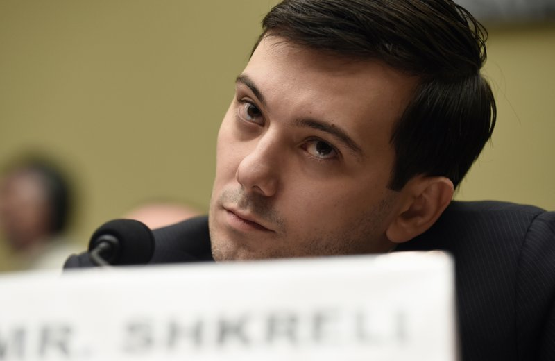 FILE - In this Thursday, Feb. 4, 2016 file photo, former Turing Pharmaceuticals CEO Martin Shkreli attends the House Committee on Oversight and Reform Committee hearing on Capitol Hill in Washington. (AP Photo/Susan Walsh)