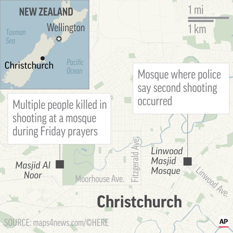 Map locates two mosques in Christchurch and Linwood, New Zealand, where mass shootings occurred; 2c x 3 1/2 inches; 96.3 mm x 88 mm;