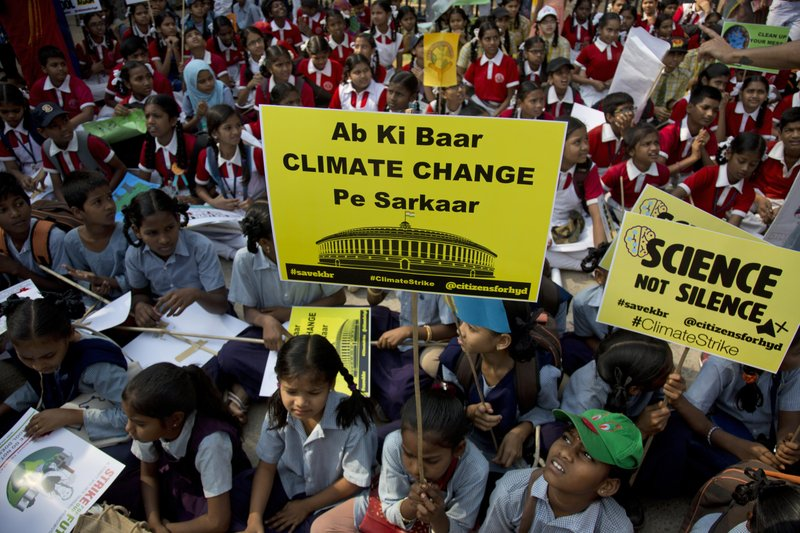 Indian students from different institutions participate in a climate protest in Hyderabad, India, Friday, March 15, 2019. (AP Photo/Mahesh Kumar A.)