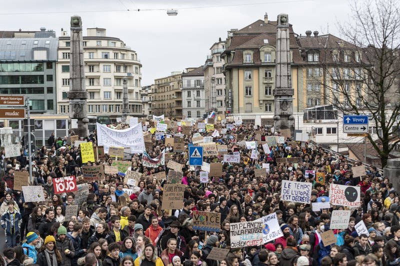 Students attend a demonstrate during a