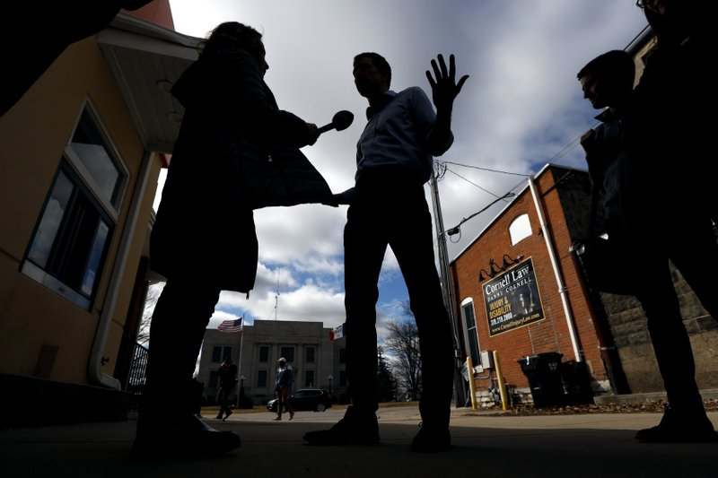 Former Texas congressman Beto O'Rourke speaks during an interview following a stop at the Central Park Coffee Company, Friday, March 15, 2019, in Mount Pleasant, Iowa. (AP Photo/Charlie Neibergall)