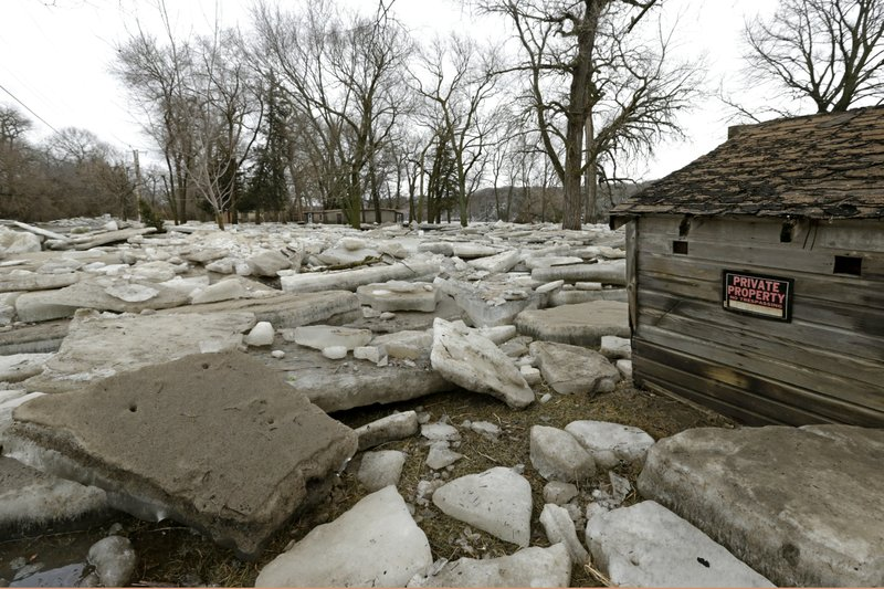 Thick slabs of ice slabs surround a structure in Fremont, Neb., Thursday, March 14, 2019, after the ice-covered Platte River flooded it's banks. (AP Photo/Nati Harnik)