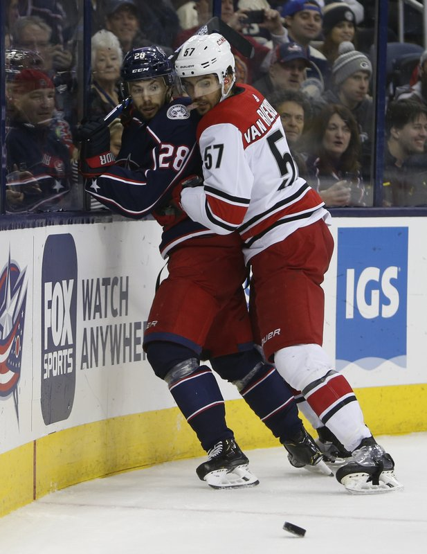 Carolina Hurricanes' Trevor van Riemsdyk, right, checks Columbus Blue Jackets' Oliver Bjorkstrand, of Denmark, away from the puck during the first period of an NHL hockey game Friday, March 15, 2019, in Columbus, Ohio. (AP Photo/Jay LaPrete)