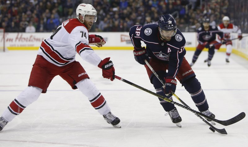 Columbus Blue Jackets' Boone Jenner, right, tries to skate past Carolina Hurricanes' Jaccob Slavin during the first period of an NHL hockey game Friday, March 15, 2019, in Columbus, Ohio. (AP Photo/Jay LaPrete)