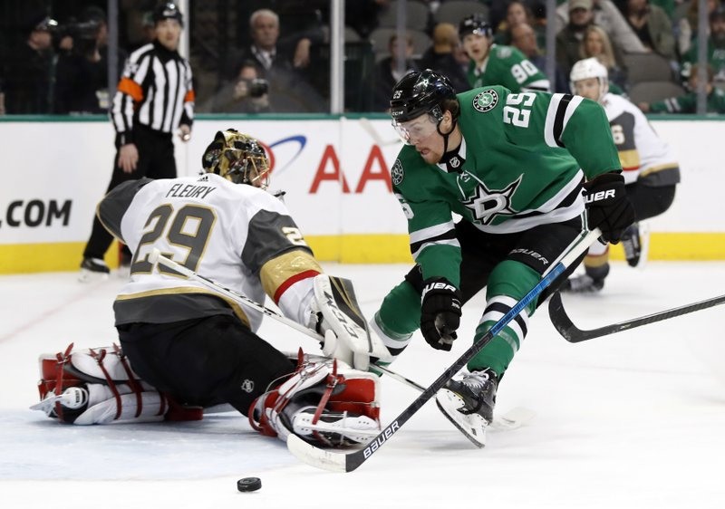 Vegas Golden Knights goaltender Marc-Andre Fleury (29) deflects a shot as Dallas Stars right wing Brett Ritchie (25) pressures the net in the first period of an NHL hockey game in Dallas, Friday, March 15, 2019. (AP Photo/Tony Gutierrez)