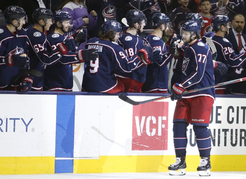 Columbus Blue Jackets' Josh Anderson celebrates his goal against the Carolina Hurricanes during the third period of an NHL hockey game Friday, March 15, 2019, in Columbus, Ohio. (AP Photo/Jay LaPrete)