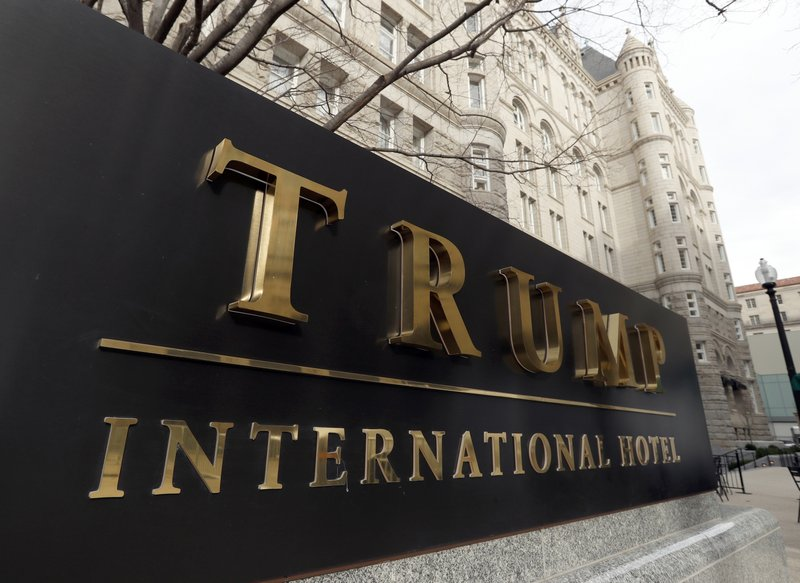 FILE - In this Dec. 21, 2016, file photo, The Trump International Hotel at 1100 Pennsylvania Avenue NW, is photographed in Washington. (AP Photo/Alex Brandon, File)