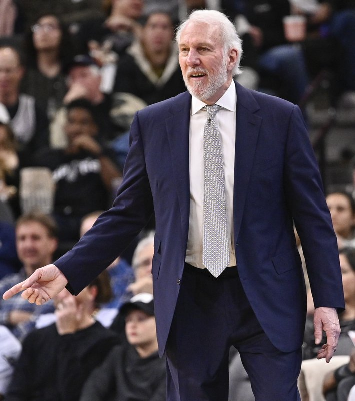 San Antonio Spurs coach Gregg Popovich reacts to a call from a referee during the second half of the team's NBA basketball game against the New York Knicks, Friday, March 15, 2019, in San Antonio. (AP Photo/Darren Abate)