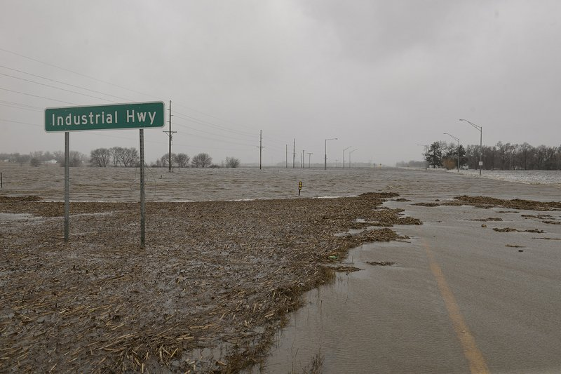 In this March 14, 2019 photo, Highway 81 near the Industrial Highway intersection north of Norfolk, Neb. (Darin Epperly/The Norfolk Daily News via AP)