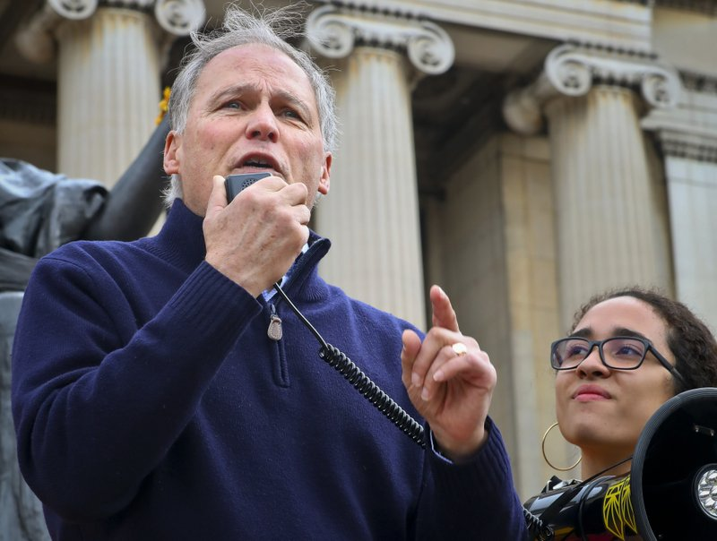 Democratic presidential candidate Washington Gov. Jay Inslee address a student Climate Strike rally at Columbia University, Friday March 15, 2019, in New York. (AP Photo/Bebeto Matthews)
