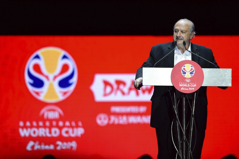 FIBA President Horacio Muratore speaks during the draw ceremony for the 2019 FIBA Basketball World Cup in Shenzhen in southern China's Guangdong Province, Saturday, March 16, 2019. (Chinatopix via AP)