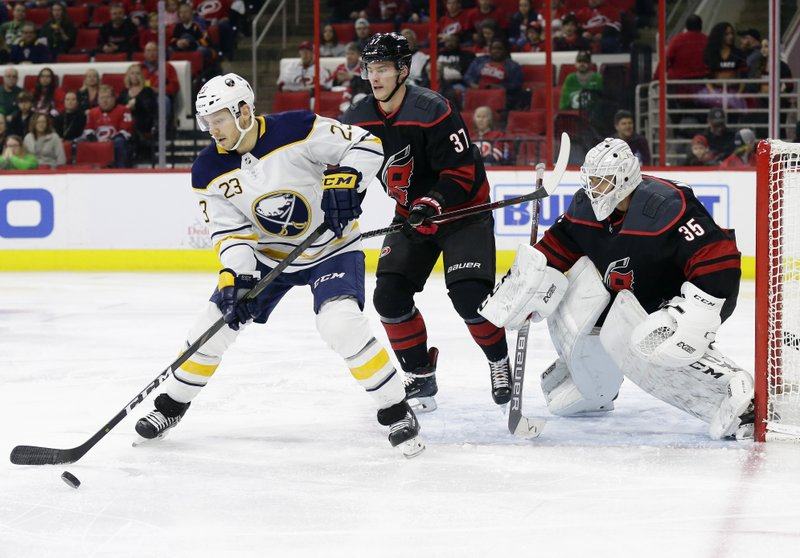 Buffalo Sabres' Sam Reinhart (23) tries to get a shot against Carolina Hurricanes goalie Curtis McElhinney (35) and Hurricanes' Andrei Svechnikov (37), of Russia, during the first period of an NHL hockey game in Raleigh, N. (AP Photo/Gerry Broome)