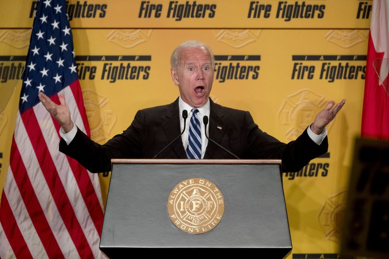 Former Vice President Joe Biden speaks at the International Association of Firefighters at the Hyatt Regency on Capitol Hill in Washington, Tuesday, March 12, 2019, amid growing expectations he'll soon announce he's running for president. (AP Photo/Andrew Harnik)