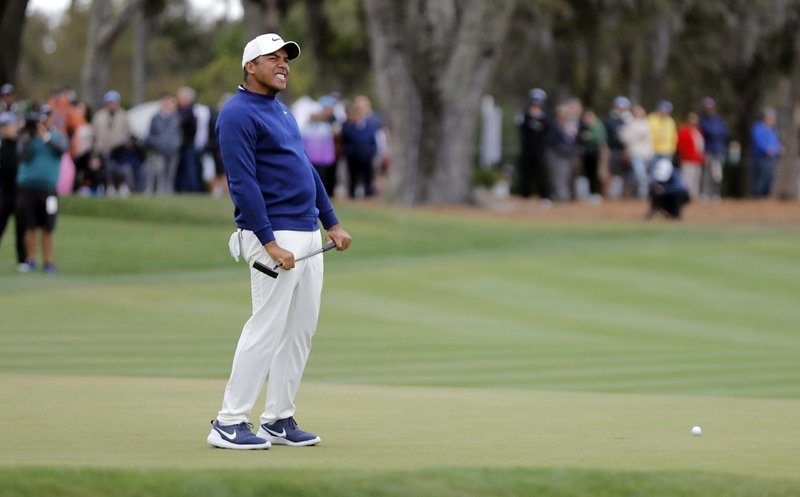 Jhonattan Vegas, of Venezuela, reacts to a missed birdie putt on the 18th hole during the final round of The Players Championship golf tournament Sunday, March 17, 2019, in Ponte Vedra Beach, Fla. (AP Photo/Gerald Herbert)