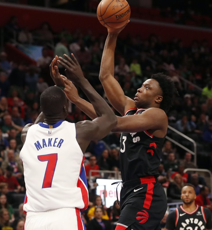 Toronto Raptors forward OG Anunoby (3) shoots over the defense of Detroit Pistons forward Thon Maker (7) during the first half of an NBA basketball game, Sunday, March 17, 2019, in Detroit. (AP Photo/Carlos Osorio)