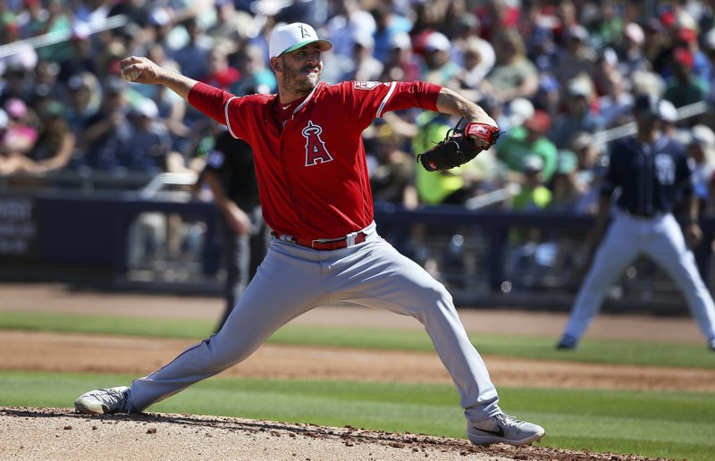 Los Angeles Angels starting pitcher Matt Harvey throws a pitch against the San Diego Padres during the first inning of a spring training baseball game Sunday, March 17, 2019, in Peoria, Ariz. (AP Photo/Ross D. Franklin)