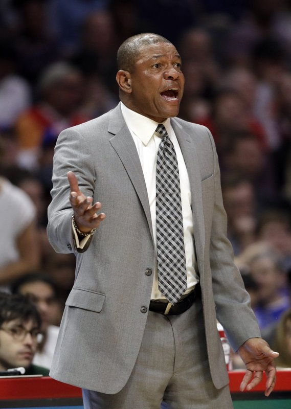Los Angeles Clippers coach Doc Rivers argues a call during the first half of the team's NBA basketball game against the Brooklyn Nets on Sunday, March 17, 2019, in Los Angeles. (AP Photo/Marcio Jose Sanchez)