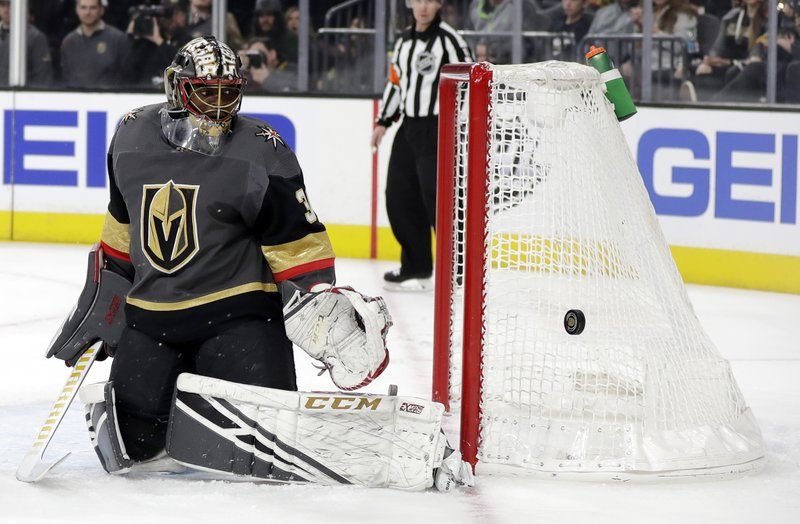 Vegas Golden Knights goalie Malcolm Subban watches as a shot goes wide during the first period of an NHL hockey game against the Edmonton Oilers Sunday, March 17, 2019, in Las Vegas. (AP Photo/Isaac Brekken)