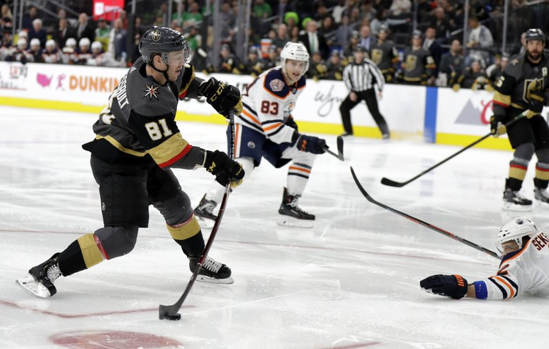 Vegas Golden Knights center Jonathan Marchessault (81) scores a goal against the Edmonton Oilers during the second period of an NHL hockey game Sunday, March 17, 2019, in Las Vegas. (AP Photo/Isaac Brekken)