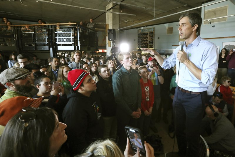 Democratic presidential candidate Beto O'Rourke visits Cargo Coffee on East Washington Avenue during a stop in Madison, Wis. (Amber Arnold/Wisconsin State Journal via AP)