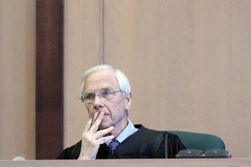 Judge Cortland Corsones weighs bail options Monday, March 18, 2019,  in Rutland, Vt., during the arraignment of Stacey L. (Robert Layman/The Rutland Herald via AP, POOL)