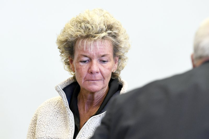 Stacey L. Vaillancourt, 53, of Rutland, Vt., is brought in to Rutland criminal court Monday, March 18, 2019, in Rutland, Vt. (Robert Layman/The Rutland Herald via AP, POOL)