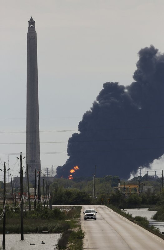 A view of the petrochemical fire at the Intercontinental Terminals Company, which is less than two miles southwest of the San Jacinto Memorial Monday, March 18, 2019, in Baytown, Texas. ( Godofredo A. Vasquez/Houston Chronicle via AP)