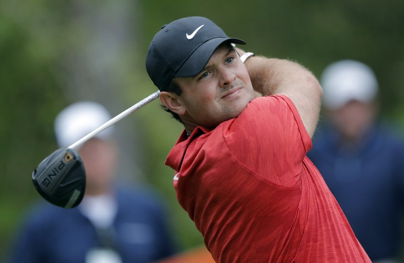 Patrick Reed tees off on the 15th hole during the third round of The Players Championship golf tournament Saturday, March 16, 2019, in Ponte Vedra Beach, Fla. (AP Photo/Gerald Herbert)