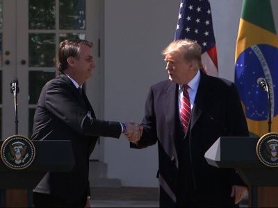 President Donald Trump praised Brazil's new far-right leader as he welcomed him to the White House, congratulating Jair Bolsonaro for his