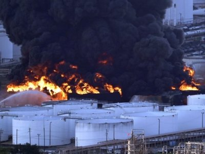 Officials say it's unclear how long it will take to extinguish a fire at a Houston-area petrochemicals storage facility where a large blaze is burning several storage tanks filled with gasoline components. (March 19)