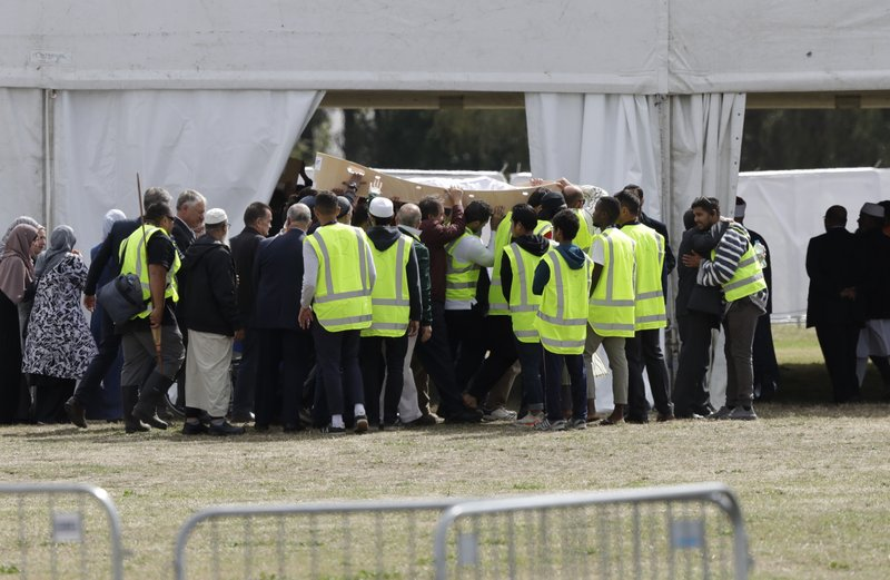 Mourners carry the body of a victim of the Friday, March 15 mosque shootings for a burial at the Memorial Park Cemetery in Christchurch, New Zealand, Wednesday, March 20, 2019. (AP Photo/Mark Baker)
