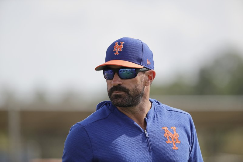 FILE - In this Feb. 18, 2019, file photo, New York Mets manager Mickey Callaway watches during spring training baseball practice in Port St. (AP Photo/Jeff Roberson, File)