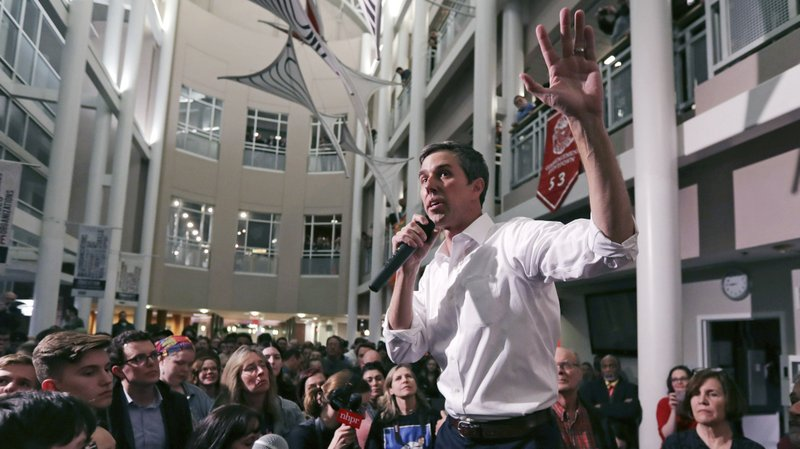 Former Texas congressman Beto O'Rourke gestures during a campaign stop at Keene State College in Keene, N. (AP Photo/Charles Krupa)