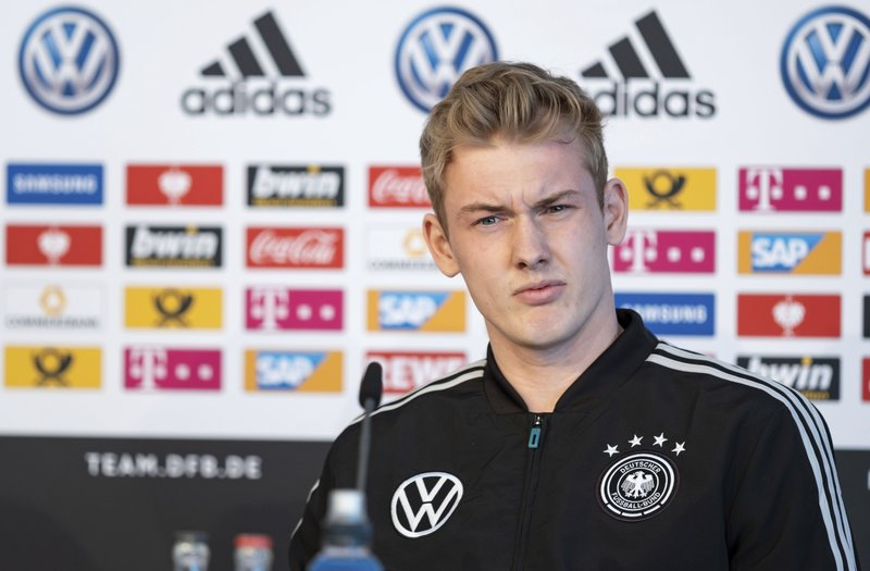 German national soccer team player Julian Brandt attends a news conference in Wolfsburg, Germany, Monday , March 18, 2019. (Peter Steffen/dpa via AP)