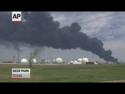 Officials said Tuesday that they're not sure when a two-day-old fire at a Houston-area petrochemicals storage facility will burn itself out, but they are confident that the air quality is safe. (March 19)