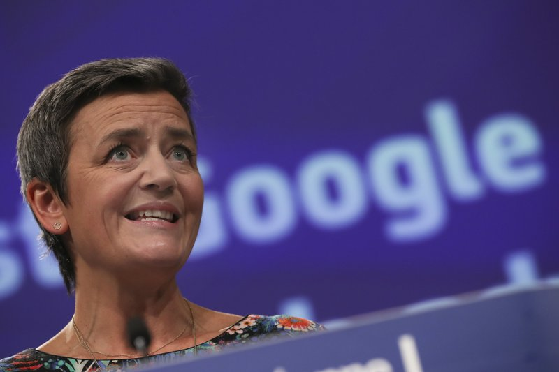 European Competition Commissioner Margrethe Vestager speaks during a media conference at EU headquarters in Brussels, Wednesday, March 20, 2019. ($1.68 billion) fine for abusing its dominant role in online advertising. (AP Photo/Francisco Seco)