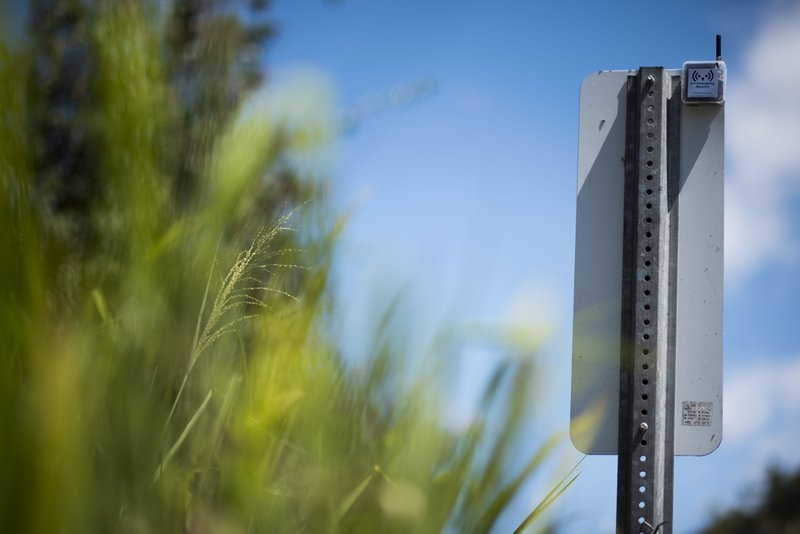 This March 13, 2019 photo shows a transmitter that is part of a system that provides a low-frequency Wi-Fi connection, on the back of a traffic sign, during a field test in Isabela, Puerto Rico. (AP Photo/Carlos Giusti)