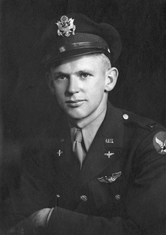 This 1945 photo provided by the Utah National Guard shows Army Air Forces 2nd Lt. Lynn W. Hadfield. The remains of Hadfield, a World War II pilot shot down in Germany, have arrived back in his home state of Utah, where they are expected to be buried. (Utah National Guard via AP)