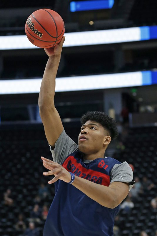 Gonzaga's Rui Hachimura shoots during practice for the NCAA men's college basketball tournament Wednesday, March 20, 2019, in Salt Lake City. (AP Photo/Rick Bowmer)