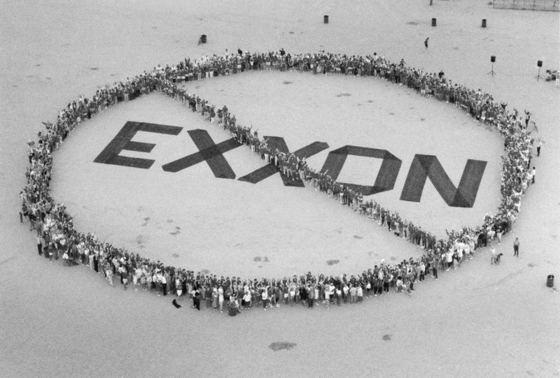 FILE - In this July 17, 1989, file photo, around 200 people showed up at Fiesta Island in San Diego, to protest the use of Exxon products. (AP Photo/Brent Clingman, File)